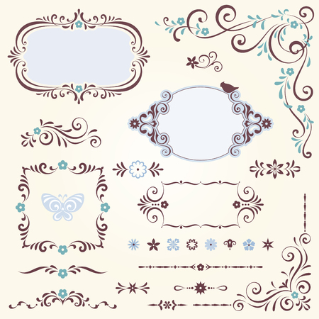 Swirl frames and banners and floral motifs. Illustration