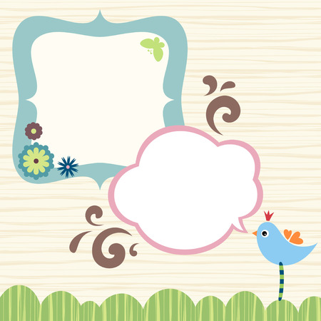 Banner, frame design with bird, butterfly and flowers.