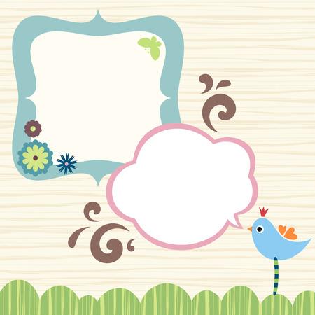 Bannière, conception du cadre avec des oiseaux, papillons et fleurs.