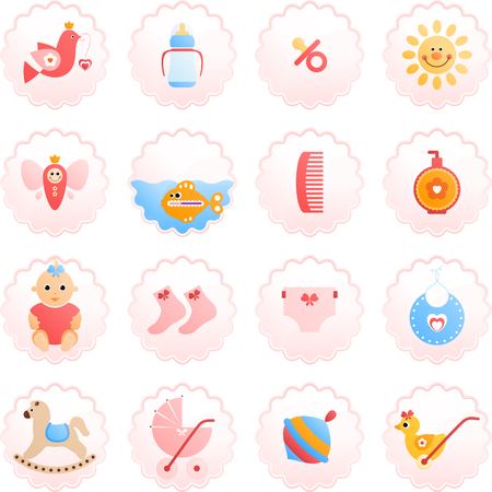 Newborn icon set. Design elements isolated on white background.