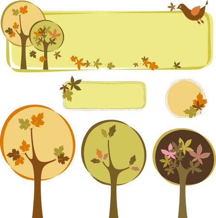 Autumn wood set. Design elements isolated on white background. Illustration