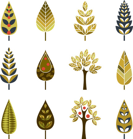 Vector ornamental trees set.