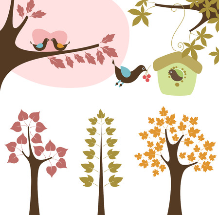 Forest set with birds.