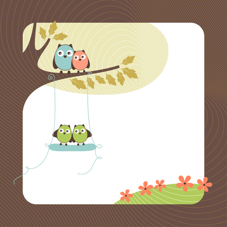 Cute card design with owls.