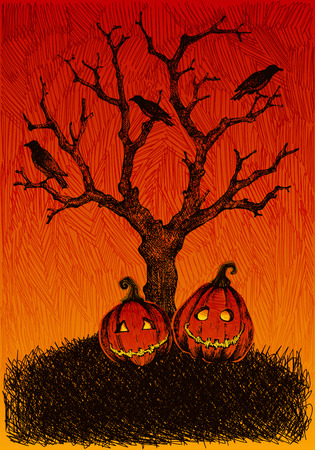Hand drawn, sketchy, doodles Halloween background. Ilustracja