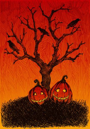 Hand drawn, sketchy, doodles Halloween background. Illustration