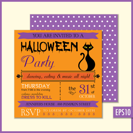 Halloween party invitation. Vector illustration.