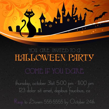 Halloween party invitation. Vector illustration.