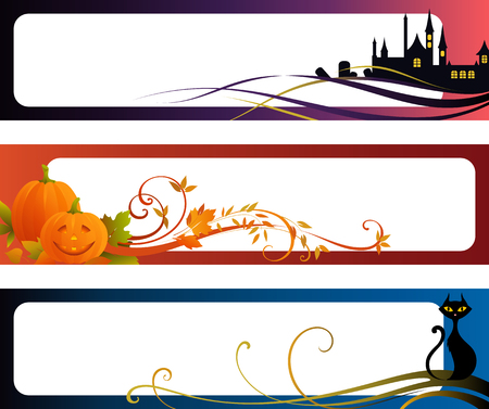 Halloween banners with scrolls, Jack O Lantern, black cat, leaves and copy space.