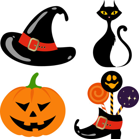terrified: Halloween elements - Jack O Lantern, black cat, Witchs Hat and boot.