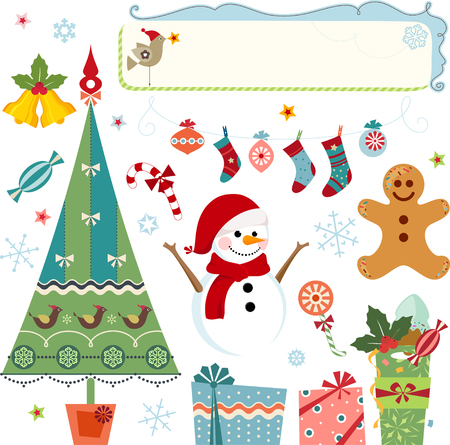 Vector Christmas elements - christmas tree, snowman, snowflakes, gifts, stockings, bells, candy cane, gingerbread man, christmas ornaments, frame, stars, holly berry and bird.