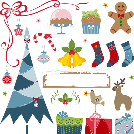 Vector Christmas elements - christmas tree, gifts, stockings, bells, candy cane, gingerbread man, cake, christmas ornaments, frame, stars, holly berry, bird and deer. Illustration