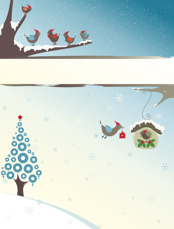 Christmas design with christmas tree, snowflakes, birds family and copy space.