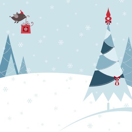 Retro Christmas design with christmas tree, snowflakes, bird and gift box.
