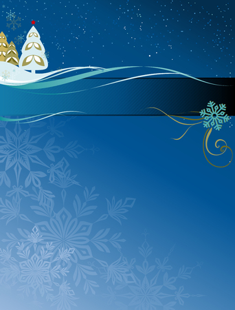 Christmas design with christmas tree, snowflakes, scrolls and copy space. Illustration