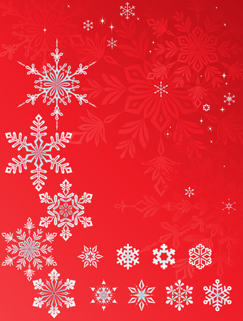 Vector snowflakes and stars set on the Christmas backgrounds.