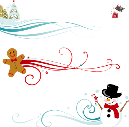 Christmas scrolls with christmas tree, Snowman and gingerbread man.