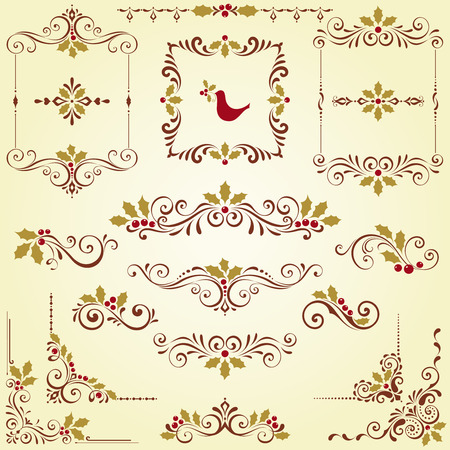 Ornate Christmas swirl set with frames and holly berry motifs.