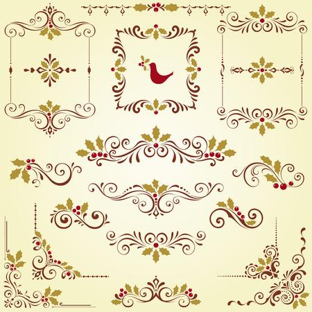 bordure de page: Ornement tourbillon de Noël serti de cadres et de houx motifs de baies. Illustration