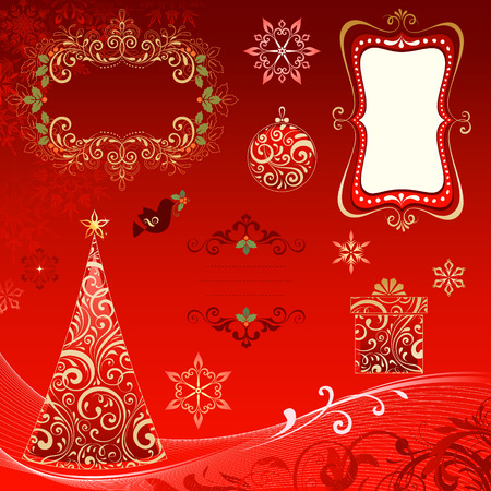 Ornate Christmas elements with frames, Christmas tree, Christmas ball, gift box, snowflakes and scrolls. Vector illustration. Illustration