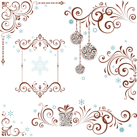 Ornate Christmas swirl set with frame and snowflakes.