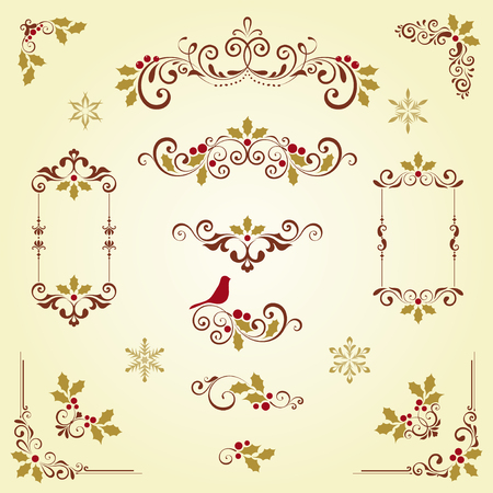 Ornate Christmas swirl set with frames, holly berry and snowflakes.