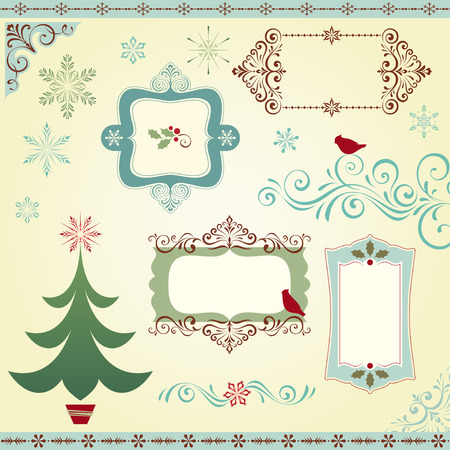 Ornate Christmas elements with frames, Christmas tree, scrolls, snowflakes, birds and holly berry. Illustration