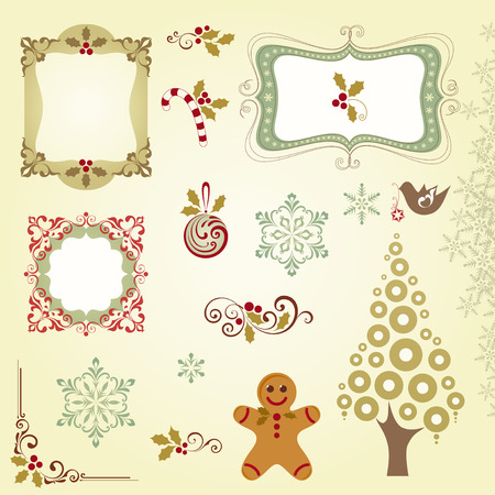 Ornate Christmas elements with frames, Christmas tree, Christmas ball, gingerbread, holly berry, candy cane, snowflakes and scrolls. Vector illustration.