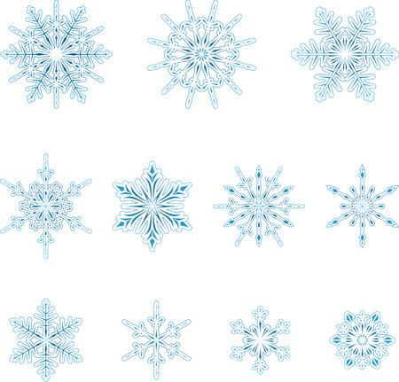 Christmas, winter snowflakes set.