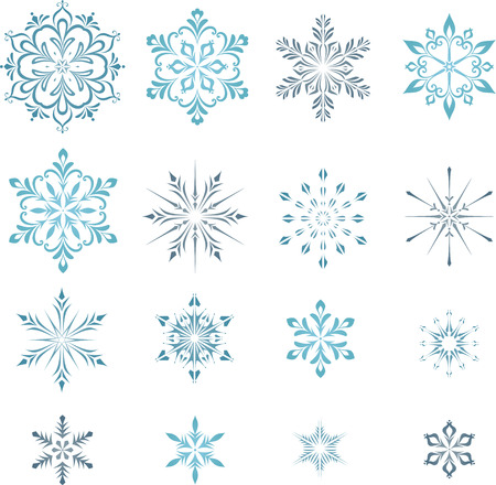 Christmas, winter snowflakes set.