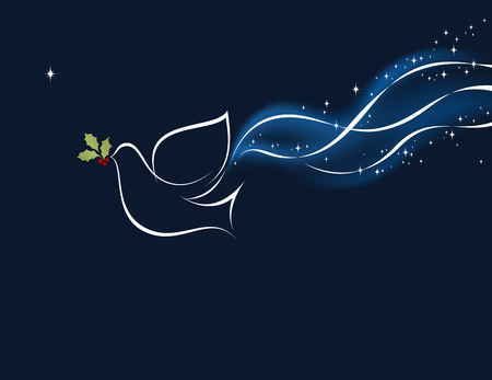 ホリー ベリーとリボンでクリスマス鳩。メッシュとの背景。