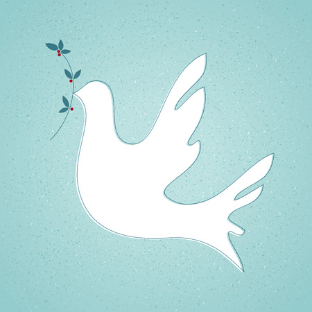 Peace Dove with Olive Branch. Vector illustration. Ilustracja