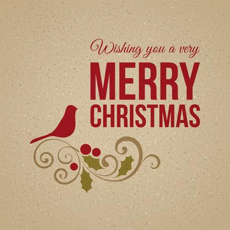 Vector Christmas card with bird. Perfect for Christmas design.