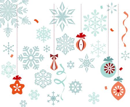 Retro christmas ornaments, snowflakes, ribbons and confetti.