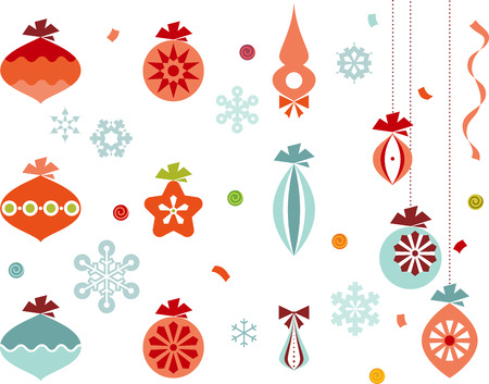 Retro christmas ornaments, snowflakes, ribbons and confetti.