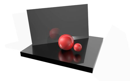 Glossy balls on the background. Reflection Geometric figures. 3D rendering