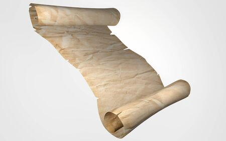 Old scroll of parchment. Place for text. 3D rendering Stock Photo