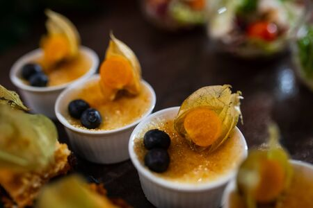 Catering. Small plates with dessert. Different focus