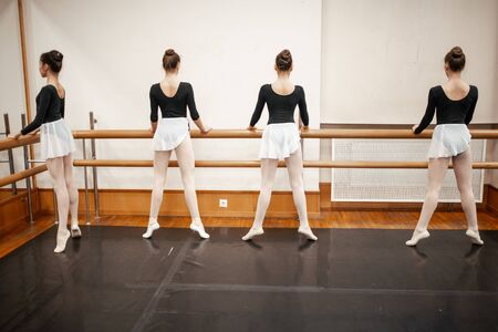 classical ballet studio. Young ballerinas standing by bar with their backs to the vie
