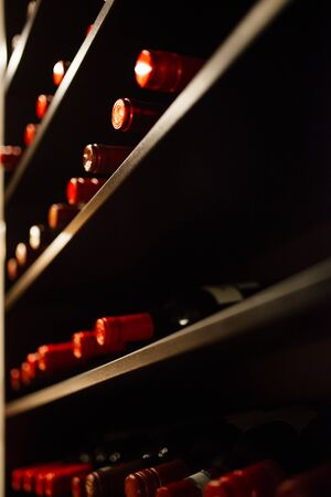 Wine cellar full of wine bottles. Bottles with wine on shelf in the wine bar