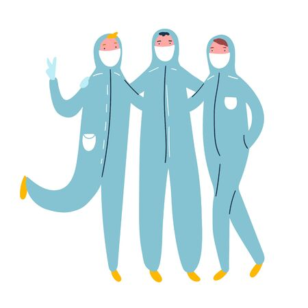 Cute vector illustration of three people friends in protective suit and medical white masks. Character concept with coronavirus and any other virus protection. Healthcare and medicine protect concept 向量圖像