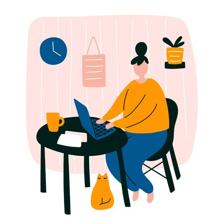 Vector cute doodle illustration with woman working home. Female character freelancer design staying home office concept sitting with her laptop and little cat in room interior. Student studying home