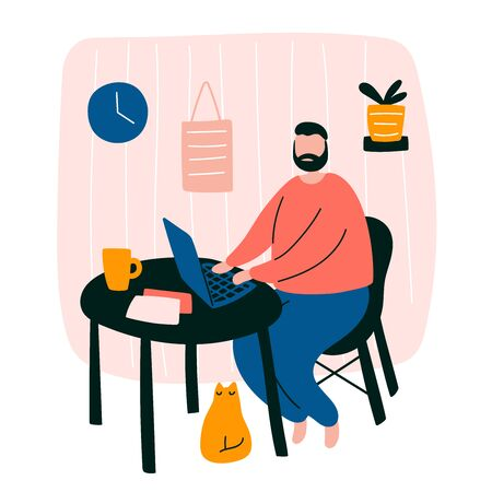 Vector cute doodle illustration with man working home. Male character freelancer design staying home office concept sitting with his laptop and little cat in room interior. Concept studying home Ilustração