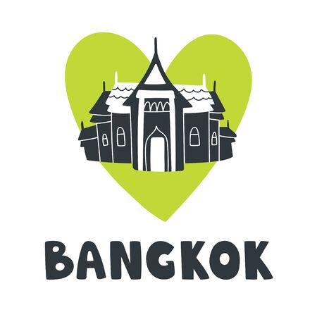 Vector silhouette illustration of Bangkok lover with text Bangkok and green heart. Logo for touristic promotion, banners, posters and t-shirts in doodle style Ilustração