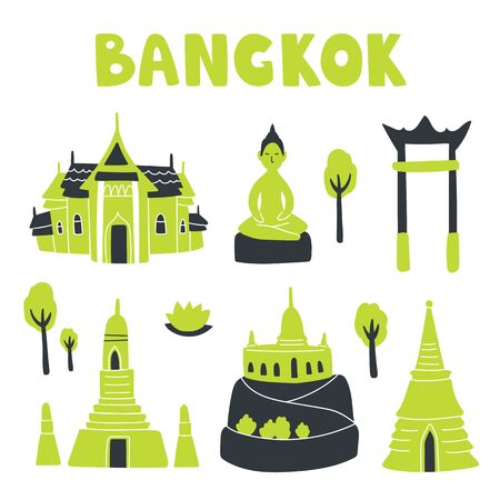 Vector illustration set of Bangkok attractions. Stupa, buddha, golden mount, temple of dawn, swing and palace. Hand drown art with cute elements and lettering in doodle style. For design and concept