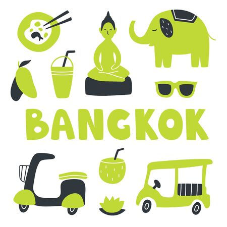Vector illustration set of different Bangkok things. Elephant, mango, buddha, noodles, lotus, coconut, motorbike and smoothie. Hand drown art with text in doodle style. For design and concept