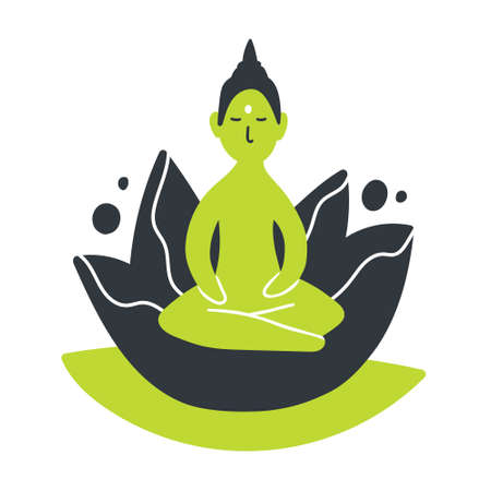 Vector illustration of sitting Buddha silhouette with lotus flower. Esoteric hand drawn artwork. Symbol of Buddhism yoga sign. Calm concentration concept. Isolated on white background