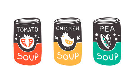 Vector illustration of can with soup in doodle style. Tomato soup, chicken soup and pea soup. Cute kawaii art with yellow, red and green color for concept and design Çizim