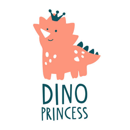 Cute pink dinosaur vector illustration with text lettering