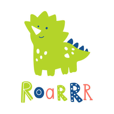 Cute green dinosaur vector illustration with text lettering